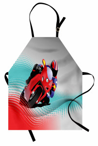 Motosiklet Yarışı Mutfak Önlüğü Kırmızı Gri