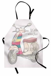 Gri Motosiklet Mutfak Önlüğü Pembe Şık Tasarım