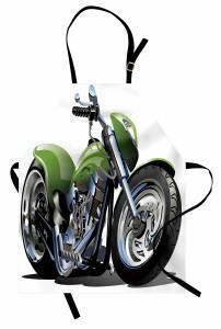 Yeşil Motosiklet Mutfak Önlüğü Beyaz Fon Dekoratif