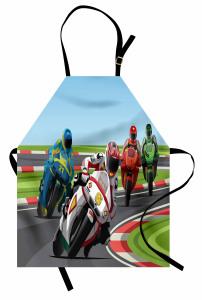 Motor Yarışı Desenli Mutfak Önlüğü Rengarenk Dekoratif