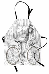 Bisikletli Kız Mutfak Önlüğü Siyah Beyaz Nostaljik