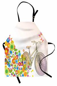 Bisiklet ve Çiçekler Mutfak Önlüğü Rengarenk Kelebek