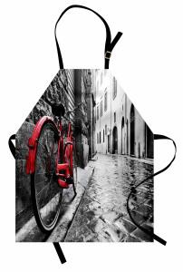 Kırmızı Bisiklet Desenli Mutfak Önlüğü Gri Yol