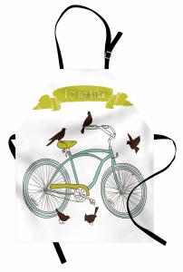 Bisiklet ve Kuşlar Mutfak Önlüğü Yeşil Dekoratif