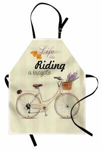 Çiçekli Bisiklet Mutfak Önlüğü Krem Dekoratif