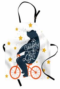 Turuncu Bisikletli Ayı Mutfak Önlüğü Yıldız Dekoratif