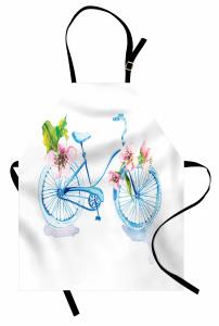 Mavi Bisiklet Desenli Mutfak Önlüğü Çiçekli Dekoratif