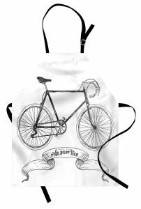 Siyah Bisiklet Desenli Mutfak Önlüğü Nostaljik Şık