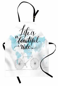 Bisiklet Yolculuğu Mutfak Önlüğü Mavi Sulu Boya Şık