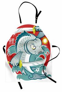 Samuray Balık Desenli Mutfak Önlüğü Mavi Dekoratif