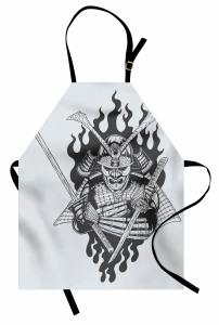 Nostaljik Samuray Mutfak Önlüğü İki Kılıçlı Dekoratif