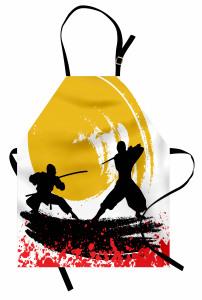 Ninja Desenli Mutfak Önlüğü Sarı Siyah Kırmızı Savaşçı