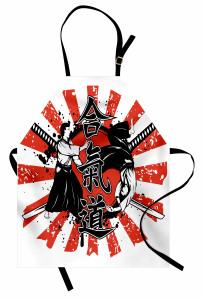 Samuray ve Kılıç Mutfak Önlüğü Kırmızı Siyah