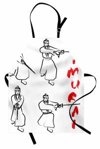 Samuray Temalı Mutfak Önlüğü Siyah Beyaz Kırmızı Kılıç