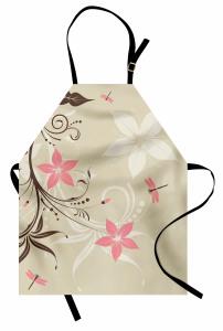 Çiçek ve Yusufçuk Mutfak Önlüğü Pembe Çiçekler Bahar Temalı