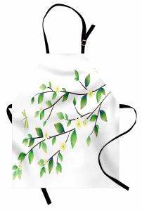 Yaprak ve Çiçek Desenli Mutfak Önlüğü Bahar Zamanı Yusufçuk