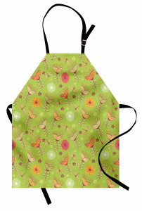 Çan Çiçeği Desenli Mutfak Önlüğü Bahar Yeşil Turuncu