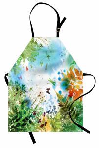 Kelebek ve Yaprak Mutfak Önlüğü İlkbahar Doğa Yeşil