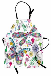 Rengarenk Kelebek Mutfak Önlüğü Çiçekler Kalpler