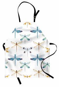 Şık Yusufçuk Desenli Mutfak Önlüğü Trend Şık Tasarım Beyaz