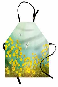 Çiçek ve Yusufçuk Mutfak Önlüğü Papatyalar Yusufçuklar Sarı