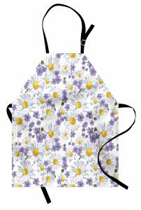 Bahar Çiçekleri Desenli Mutfak Önlüğü Beyaz Papatya Mor Çiçek