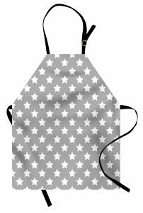 Beyaz Yıldız Desenli Mutfak Önlüğü Gri Şık Tasarım