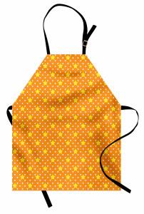 Yıldız Desenli Mutfak Önlüğü Turuncu Sarı Şık Tasarım