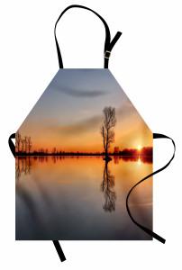 Gölde Gün Batımı Mutfak Önlüğü Romantik Ağaç