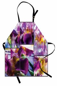 Çiçek Desenli Mutfak Önlüğü Mor Şık Tasarım Çeyizlik