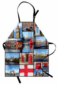 İngiltere Temalı Mutfak Önlüğü Mavi Londra Gökyüzü