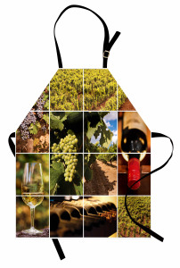 Şarap Temalı Mutfak Önlüğü Üzüm Kırmızı Şişe Kadeh