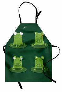 Sevimli Yeşil Kurbağa Mutfak Önlüğü Sevimli Yeşil Kurbağa