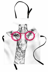 Pembe Gözlüklü Zürafa Mutfak Önlüğü Pembe Gözlüklü Zürafa