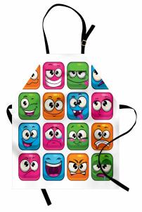 Rengarenk Emojiler Mutfak Önlüğü Rengarenk Emoji Mavi Pembe