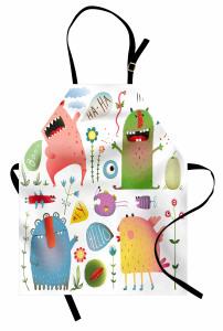 Renkli Sevimli Canavar Mutfak Önlüğü Rengarenk Sevimli Canavar