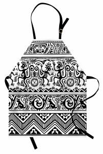 Etnik Hayvan Desenli Mutfak Önlüğü Siyah Beyaz