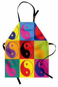 Rengarenk Yin Yang Mutfak Önlüğü Dekoratif