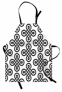 Kelt Geometrik Düğüm Mutfak Önlüğü Siyah Beyaz