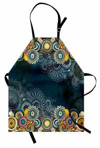 Renkli Şal Tarzı Çiçek Mutfak Önlüğü Mavi