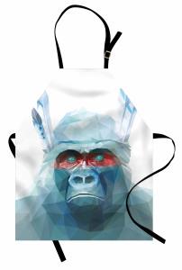 Mavi Kristal Maymun Mutfak Önlüğü Dekoratif
