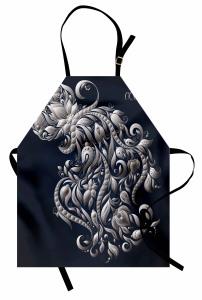 Çiçekli Kova Burcu Mutfak Önlüğü Şık Tasarım