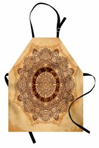 Kahverengi Çiçekli Burç Mutfak Önlüğü Krem Fon