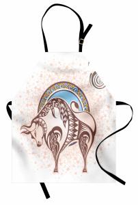 Bej Boğa Burcu Desenli Mutfak Önlüğü Mavi Sarı ve Bej