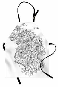 Şık Kova Burcu Desenli Mutfak Önlüğü Siyah ve Beyaz