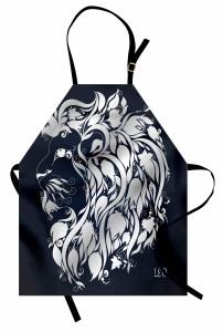 Çiçekli Aslan Burcu Mutfak Önlüğü Lacivert
