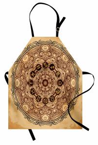 Kahverengi On İki Burç Mutfak Önlüğü Çiçekli