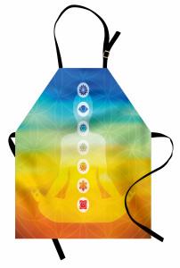Sarı Mavi Meditasyon Mutfak Önlüğü Çakralı