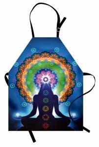 Meditasyon ve Çiçek Mutfak Önlüğü Mavi Fonlu