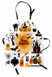 Cadılar Bayramı Temalı Mutfak Önlüğü Siyah Turuncu